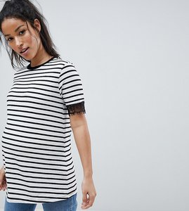 Read more about Asos design maternity t-shirt with lace trim detail in stripe - multi
