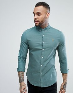 Read more about Farah brewer slim fit oxford shirt in green - 317 sea green