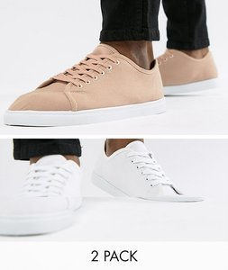 Read more about Truffle collection 2 pack lace up plimsolls - white