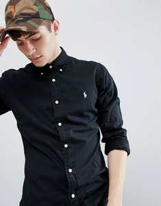 Read more about Polo ralph lauren slim fit garment dyed shirt player logo button-down in black - polo black