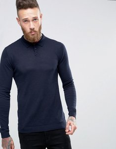 Read more about Asos knitted muscle fit polo shirt in navy - faded navy