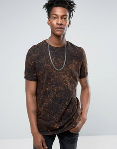 Read more about Asos longline t-shirt with bleach spray wash in orange and black - orange