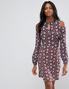 Read more about Liquorish cold shoulder ditsy print floral dress - multi