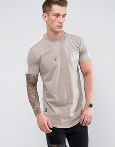 Read more about Bee inspired muscle fit t-shirt in stone with sleeve stripe - stone