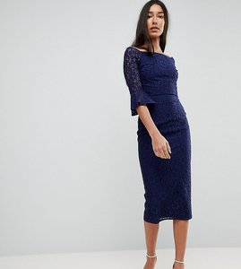 Read more about Little mistress tall all over lace bardot midi dress with fluted sleeve detail - navy