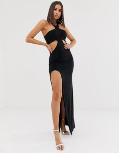 Read more about Club l london cutout maxi dress with thigh split in black