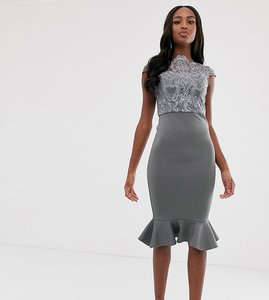 Read more about Chi chi london tall lace midi dress with peplum hem in charcoal grey