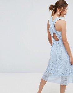 Read more about Warehouse premium lace cross back midi dress - light blue