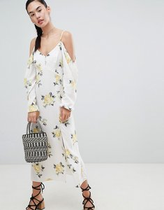 Read more about Nobody s child cold shoulder maxi dress in ditsy floral - white floral