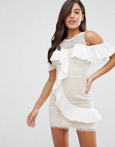 Read more about Dark pink lace mini dress with asymmetric ruffle - white