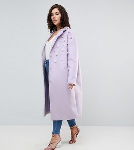 Read more about Asos curve pearl soft coat - lilac