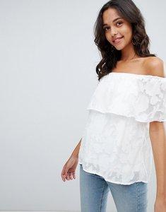 Read more about Vila jacquard floral cold shoulder top - white