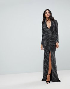 Read more about City goddess plunge maxi dress in sheer metallic with thigh split - black
