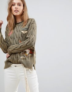 Read more about Polo ralph lauren embroidered roll neck cable knit jumper - olive