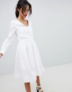Read more about French connection long sleeve wrap midi dress - linen white