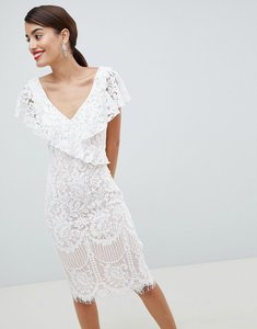 Read more about City goddess lace pencil dress with frill overlay - white