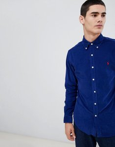 Read more about Polo ralph lauren slim fit fine cord shirt player logo button down in blue - fall royal