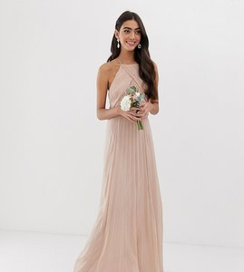 Read more about Asos design tall bridesmaid pinny maxi dress with ruched bodice