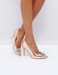 Read more about New look embellished pointed toe heeled shoe - rose gold