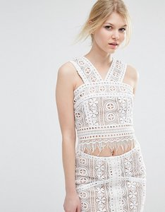 Read more about True decadence petite co-ord premium lace overlay crop top - multi