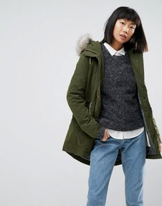 Read more about Parka london alana faux fur trim parka coat - khaki