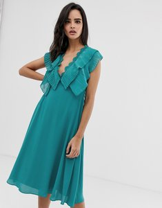 Read more about Asos design double layer pleat sleeve midi dress with scallop trim