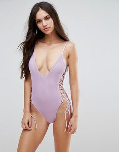 Read more about Blue life lattice side swimsuit - lilac