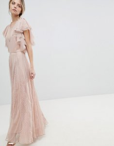 Read more about Asos dobby and mesh mix ruffle maxi dress - nude