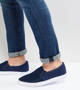 Read more about Asos wide fit slip on plimsolls in navy mesh - navy