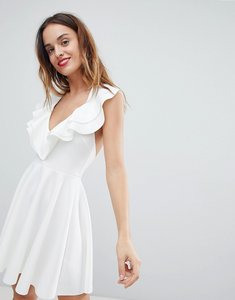 Read more about Asos ruffle halter mini skater dress - ivory