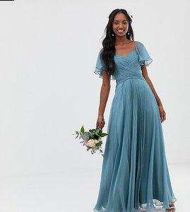 Read more about Asos design tall bridesmaid pleated bodice maxi dress with flutter sleeve