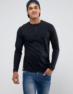 Read more about Threadbare slub long sleeve grandad t-shirt - black