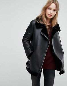 Read more about New look faux shearling suedette aviator jacket - black