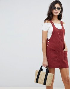Read more about Asos design cord pinafore dress in rust - rust