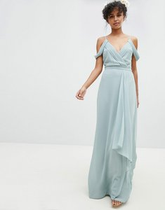 Read more about Tfnc cold shoulder wrap maxi bridesmaid dress with fishtail - green lily