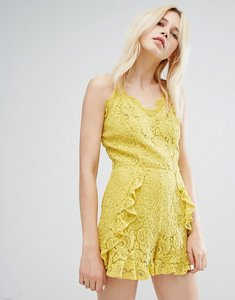 Read more about J o a cami strap playsuit in delicate lace with ruffle detail - yellow