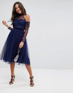 Read more about Asos premium tulle cold shoulder midi prom dress - navy