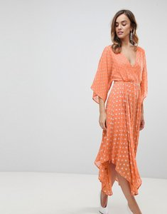Read more about Asos flutter sleeve midi dress with hanky hem in glitter spot - orange