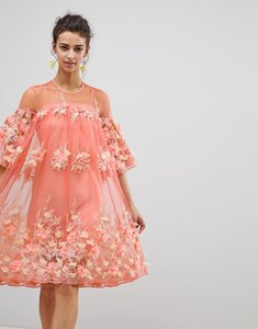 Read more about Asos edition 3d floral trapeze smock midi dress - coral