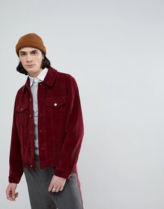 Read more about Asos design cord western jacket in burgundy - burgundy