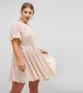 Read more about Asos curve gold sparkle skater mini dress - rose gold