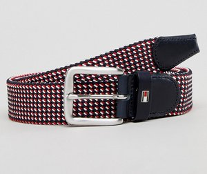 Read more about Tommy hilfiger multi icon flag woven belt 3 5cm in red white blue - red white blue