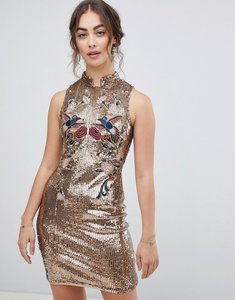 Read more about Hope ivy sleeveless sequin mini dress with chinoisery embroidery in gold - gold
