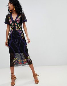 Read more about Cleobella lace midi dress with floral embroidery - multi
