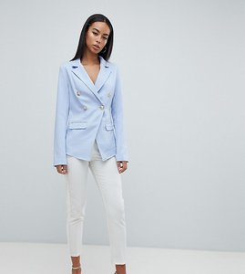 Read more about Missguided tall tailored gold button blazer - blue
