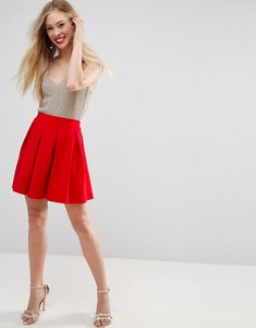 Read more about Asos scuba box pleat mini skirt - red