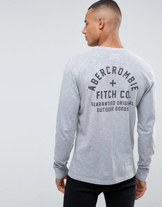 Read more about Abercrombie fitch long sleeve top slim fit logo back print in grey - grey