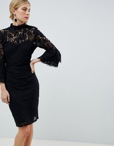 Read more about Paper dolls lace flute sleeve dress - black