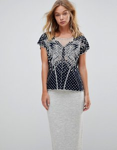 Read more about Sugarhill boutique butterfly cutwork embroidered top - polka dot navy cream