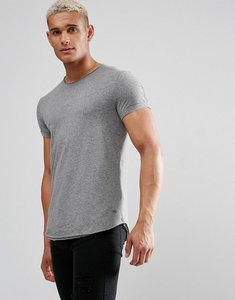 Read more about Esprit longline t-shirt with raw edges in grey - grey 035
